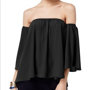 Black silk cold shoulder top